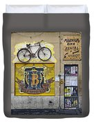 Colorful Signage In Palma Majorca Spain Duvet Cover