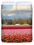 Colorful Skagit Valley Tulip Fields Panorama Duvet Cover