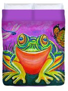 Colorful Smiling Frog-voodoo Frog Duvet Cover by Nick Gustafson