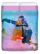 Colorful Snowboarder Paint Splatter Duvet Cover