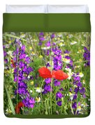 Colorful Spring Wild Flowers Duvet Cover