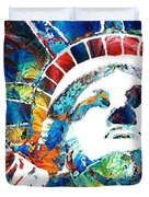 Colorful Statue Of Liberty - Sharon Cummings Duvet Cover