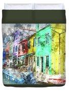 Colorful Street In Burano Near Venice Italy Duvet Cover