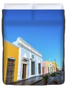 Colorful Street In Campeche, Mexico Duvet Cover