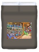 Colorful Streets Of The City Of Stuart Duvet Cover