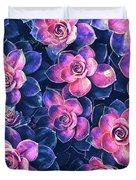 Colorful Succulent Plants Duvet Cover