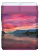Colorful Sunrise At Columbia River Gorge Duvet Cover