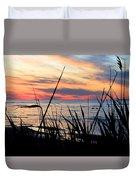 Colorful Sunset On Lake Huron Duvet Cover by Danielle Allard
