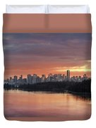 Colorful Sunset Over Vancouver Bc Downtown Skyline Duvet Cover