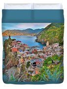 Colorful Vernazza From Behind Duvet Cover