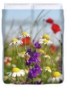 Colorful Wild Flowers Nature Scene Duvet Cover
