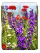 Colorful Wild Flowers Spring Scene Duvet Cover