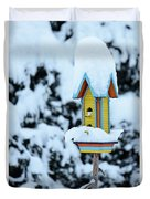 Colorful Wooden Birdhouse In The Snow Duvet Cover