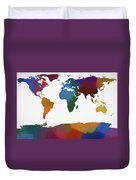 Colorful World Map Duvet Cover