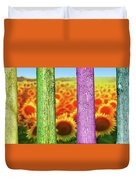 Colorfull Tree Trunks In Thefield. Abstract Psychedelic Colors Duvet Cover
