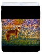 Colorized Death Valley Coyote Duvet Cover