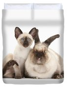 Colorpoint Rabbit And Siamese Kitten Duvet Cover