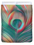 Colors Of The Rainbow Peacock Feather Duvet Cover