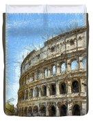 Colosseum Or Coliseum Pencil Duvet Cover