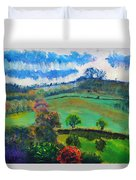 Colourful English Devon Landscape - Early Evening In The Valley Duvet Cover