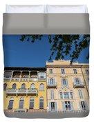 Colourful Facade Of Traditional Buildings In Como, Italy Duvet Cover