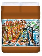Colourfull Lovers Walking Duvet Cover