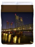 Columbia Crossing I-5 Interstate Bridge At Night Duvet Cover