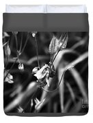Columbine Flower 2 Black And White Duvet Cover