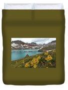 Columbine Lake And Alpine Sunflower Landscape Duvet Cover