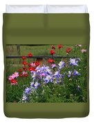 Columbines And Daisies Duvet Cover