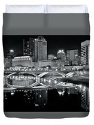 Columbus Ohio Black And White Duvet Cover