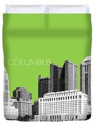 Columbus Ohio Skyline - Olive Duvet Cover