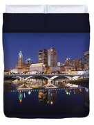 Columbus Skyline Reflection Duvet Cover