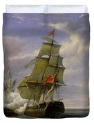 Combat Between The French Frigate La Canonniere And The English Vessel The Tremendous Duvet Cover