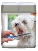 Combing Beards Of The White Dog Duvet Cover