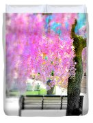 Come Sit By The Cherry Blossoms Duvet Cover