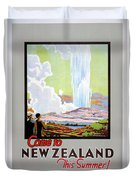 Come To New Zealand Vintage Travel Poster Duvet Cover