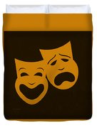 Comedy N Tragedy Black Orange Duvet Cover