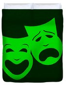 Comedy N Tragedy Green Duvet Cover
