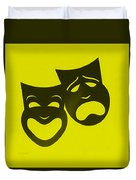 Comedy N Tragedy Neg Yellow Duvet Cover