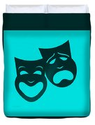Comedy N Tragedy Turquoise Duvet Cover