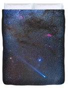 Comet Lovejoys Long Ion Tail In Taurus Duvet Cover