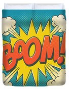 Comic Boom On Blue Duvet Cover by Mitch Frey