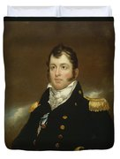 Commodore Oliver Hazard Perry Duvet Cover by John Wesley Jarvis