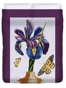 Common Iris With Butterflies Duvet Cover