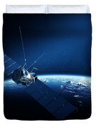 Communications Satellite Orbiting Earth Duvet Cover