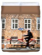 Commuter Going To Work By Cycle In Copenhagen Duvet Cover