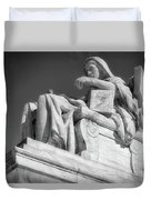 Comtemplation Of Justice 1 Bw Duvet Cover