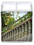 Concrete Banister And Plants Duvet Cover