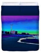 Coney Island Parachute Jump And Beach Duvet Cover